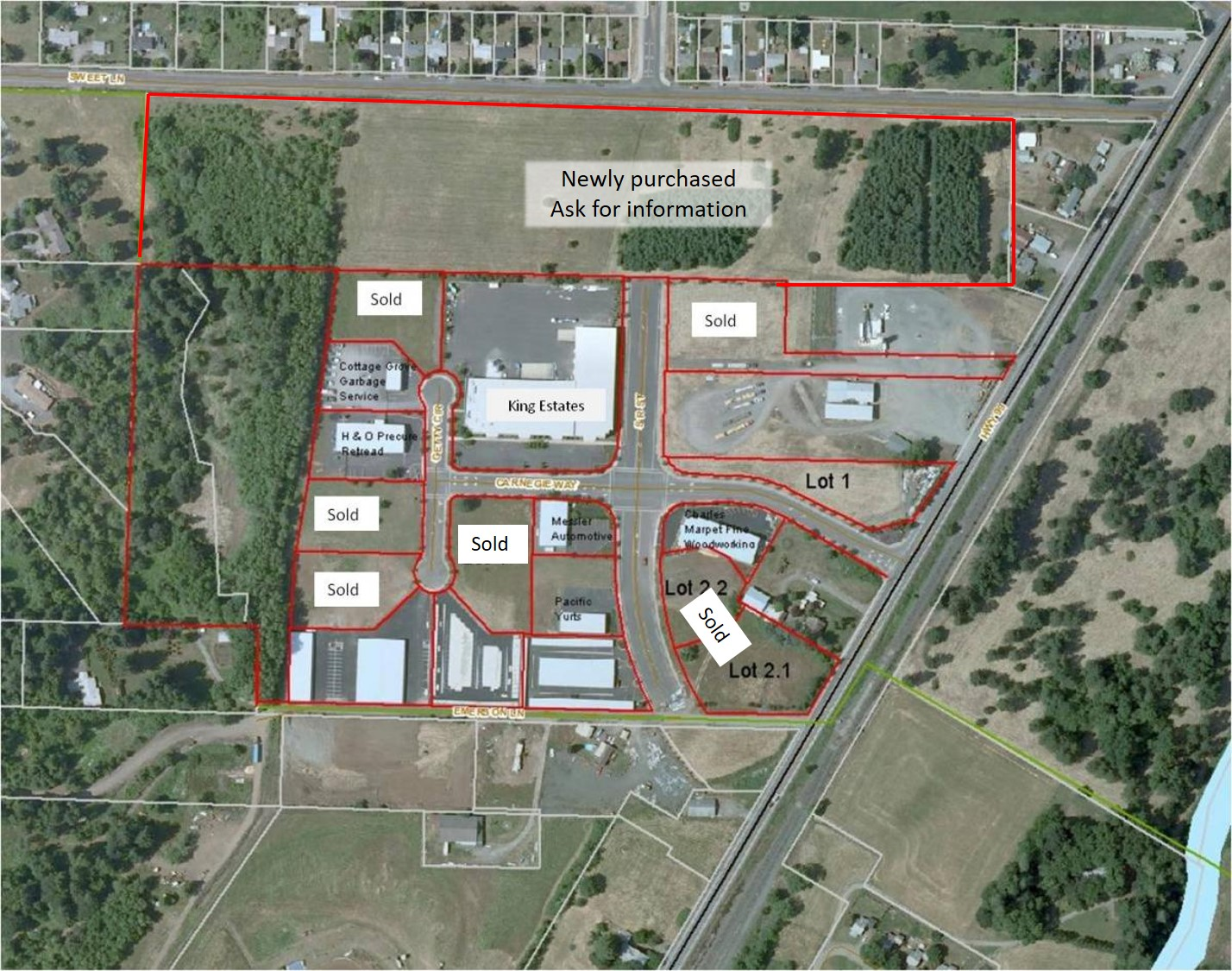 Industrial Park Site Plan Map Cottage Grove Oregon