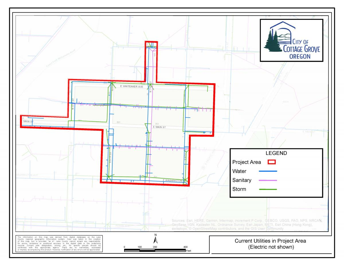 Cottage Grove Oregon Map Current Utilities Map | Cottage Grove Oregon